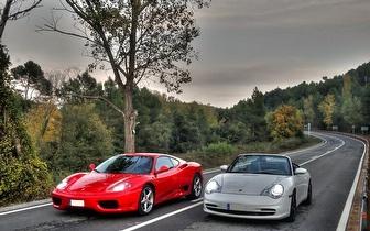 ¡Ruta de 14 kilómetros en Porsche, Ferrari, Lamborghini o Corvette en Igualada por 99€!