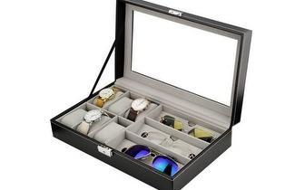 Caixa de Arrumação de Pele Sintética para 6 Relógios + 3 Óculos por 19,50€!