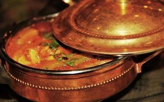 Venha jantar indiano com 50% de desconto no prato principal!