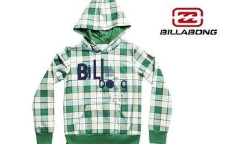 Camisola BILLABONG quadriculado verde com capuz para adulto ou criança por apenas 19,50€!