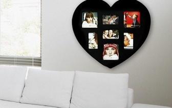 Porta-Fotos Coração Preto para 7 Fotos por 13,90€! Entrega em todo o país!
