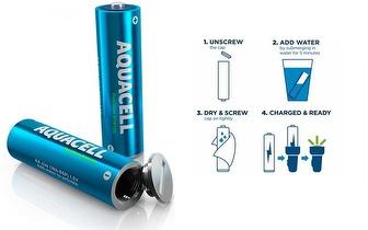 2 Pilhas AA Recarregáveis Aquacell com carregamento a Água por 13,90€!